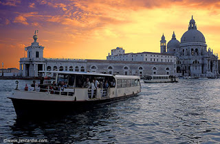 Venice - A vaporetto at Sunset